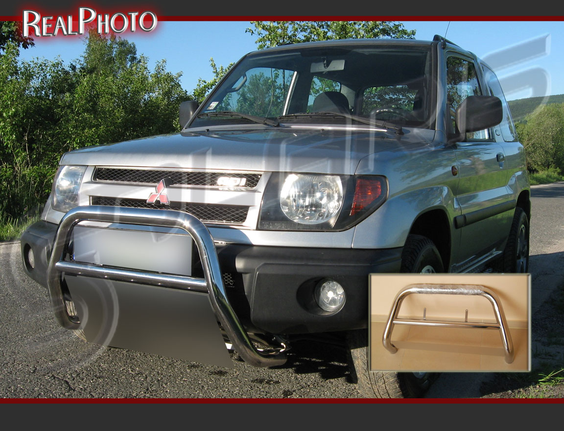 Details about mitsubishi pajero pinin 98 07 bull bar without axle bars stainless steel